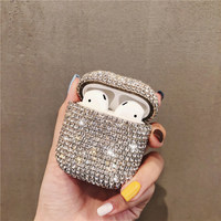 Bling diamonds hard shell for apple airpods case wireless bluetooth earphone ear pods cover charging box for iphone airpod skin|Earphone Accessories|   -