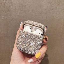 Bling diamonds twarda skorupa dla apple airpods case bezprzewodowa słuchawka bluetooth słuchawki douszne pokrywa skrzynka ładująca dla iphone airpod skin