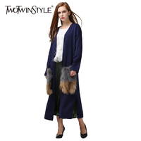 TWOTWINSTYLE 2017 Spring Women Knitted Cardigan Sweater Coat V Neck Long Sleeves Faux Fur Cargo Pockets