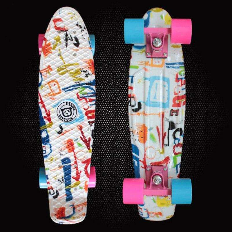 Взрослые коньки мини Cruiser Пластик скейтборд пространство Графический напечатаны 22 Ретро Лонгборд выполните peny доска для продажи pn05