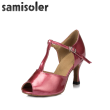 Samisoler Pink/Skin/Brown New Flash Cloth Collocation Shine Ribbons Ballroom Fashion Dance Women Latin Competition Shoes