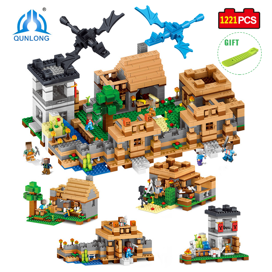 1221pcs 4 in 1 My World Compatible Legoed Minecrafted City Building Blocks Bricks DIY Enlighten Brinquedo Gift Toys For Children 2016 kids diy toys plastic building blocks toys bricks set electronic construction toys brithday gift for children 4 models in 1