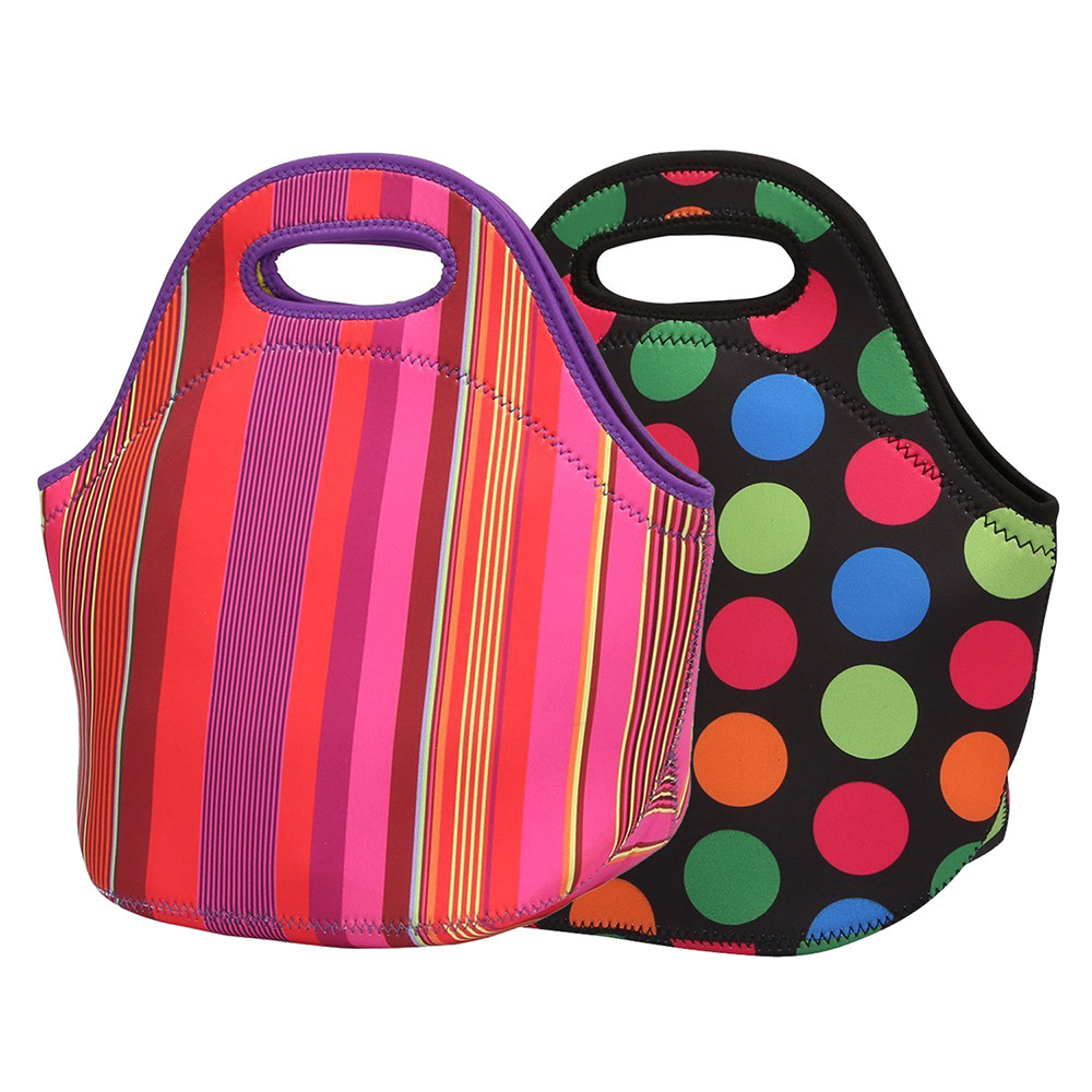 Stripes Lunch Bag Neoprene Insulated Thermal Waterproof Work Picnic Lunch Box Women Kids Simple Style Tote Pouch Printed Dots
