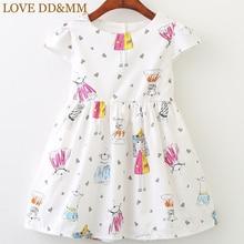 Платья для девочек с принтом LOVE DD& MM, новинка года, весеннее милое платье с короткими рукавами и круглым вырезом для девочек