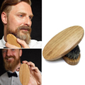 Men's Natural Boar Bristle Beard Oil Brush Military Round Wood Handle Comb