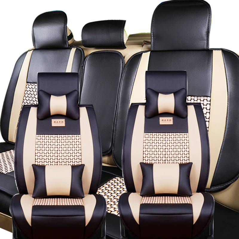 Universal 5-Seat M Size Seat Covers All seasons Car Cooling Mesh+PU Leather(Front+Rear) With Headrest Lumbar