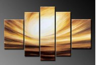 hand painted oil wall Dusk sky home decoration Landscape Framed oil painting on canvas 5pcs/set wood framed mixorde