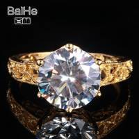 Твердые 10 К желтого золота кольцо фианит Свадебные Обручение Fine Jewellery Винтаж Круглый Филигрань Milgrain зубец Установка Для женщин