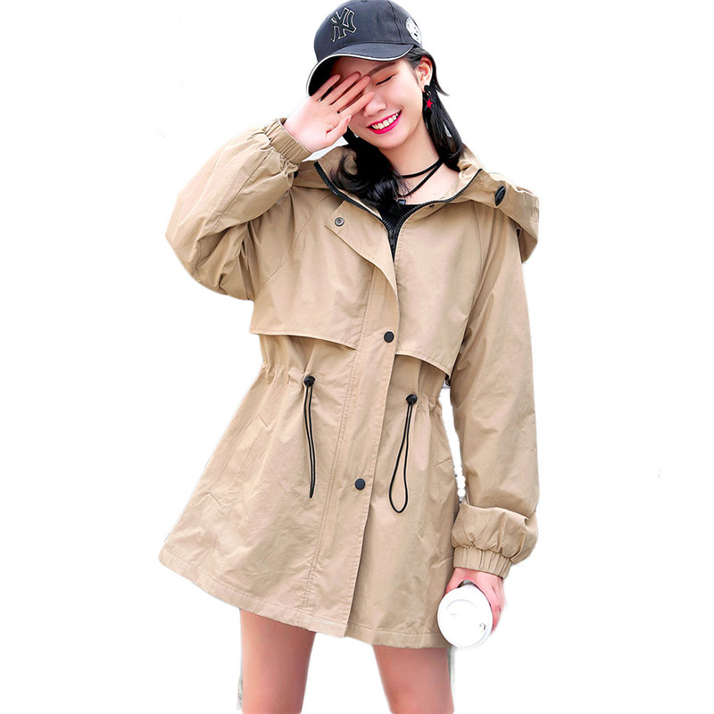 2019 Spring Autumn Women's Casual Loose Trench Coat Hooded Windbreaker Solid Pockets Button Lightweight Raincoat Overcoat M221