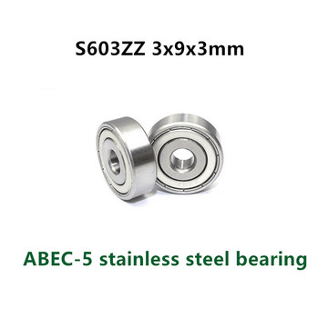 50pcs/lot  ABEC-5 S603ZZ 3x9x3 stainless steel deep groove ball bearing S603 -2Z 3*9*3 mm