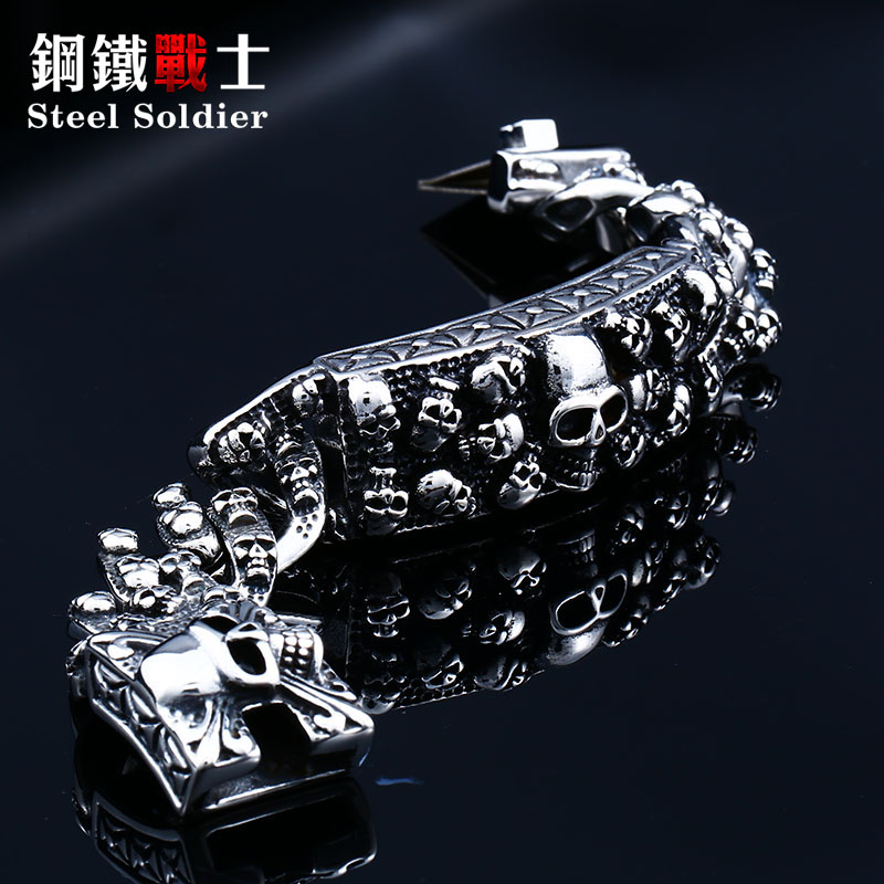 steel soldier punk men skull bracelet heavy power rock biker stainless steel skull chain link charm make jewelry new arrival недорго, оригинальная цена