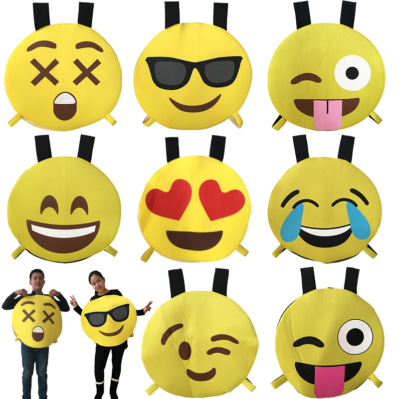 Adult Funny face Emoji Party Emoticon angry laugh cry Costume Cosplay Sponge Clothes Fancy vest role player jumpsuit