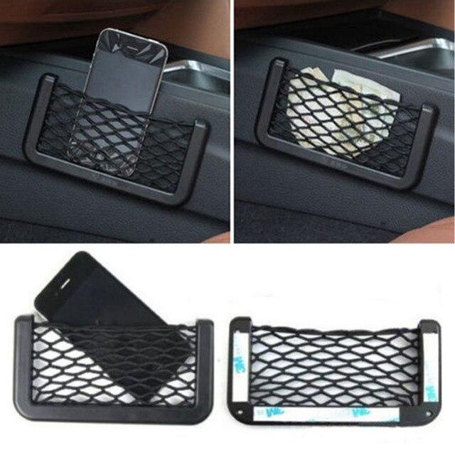 1pc Universal Black Car Net Bag Side Door Back Seat Useful Stowing Tidying Storage Phone Holder Pocket Organizer Car Accessories
