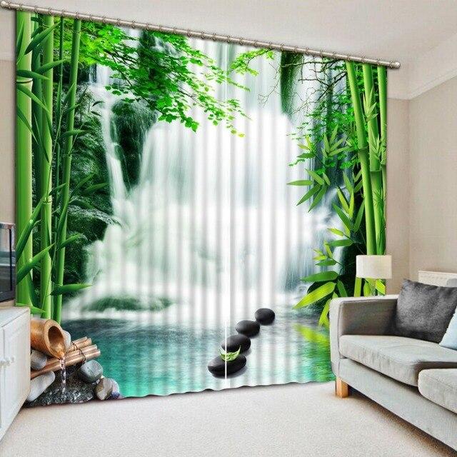 Bambu Cortinas Blackout Cortina Para Sala De Estar Quarto Cachoeira  Paisagem Impresso Cortinas Da Cozinha