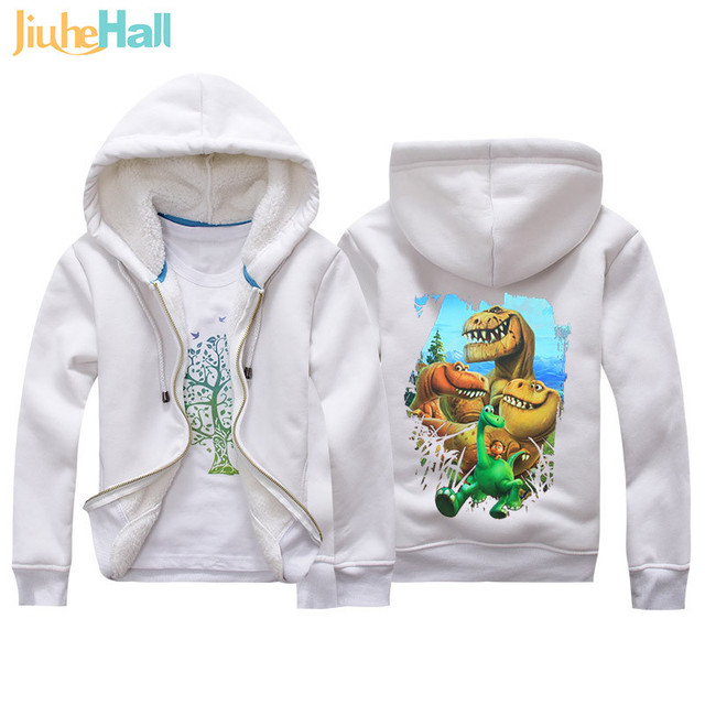 Jiuhehall Cartoon Dinosaur Berber Fleece Coats For Kids 2017 New Fashion Children Parkas 6 Colors Hooded Zipper Jackets JCM018