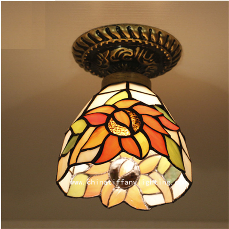 Tiffany ceiling lamp ,European style Baroque,Med ,Bohemia surface mounted tiffany light ,16cm Sunflower ceiling lampTFC-010-16CM