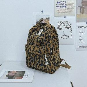 Image 3 - Модный женский рюкзак с леопардовым принтом, вельветовый дорожный рюкзак с двумя ремнями, вместительный школьный рюкзак на плечо для девочек, XA587WB