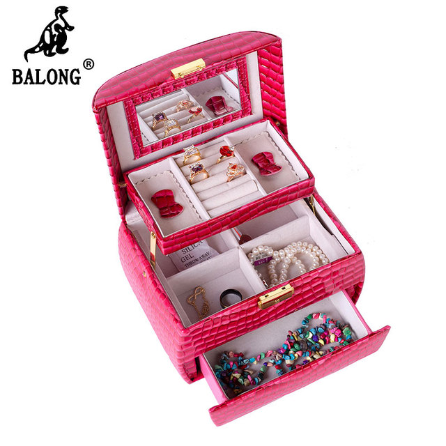 Fashion Snakeskin Necklace Rings Bracelet Storage Box PU Leather