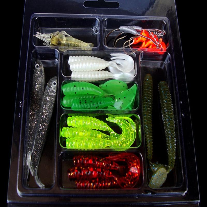 US $5 23  Y081 Sales Fishing Gear 22 pcs Black Fish Shrimp Crane Head Hook  Softworm Scrollworm Reptile Fishing Tackle Fishing Lures-in Fishing Lures