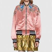 Элитный бренд Винтаж розовая куртка пальто Для женщин 2018 взлетно посадочной полосы дизайнер цветочной вышивкой блестками дамы Street Шинель К