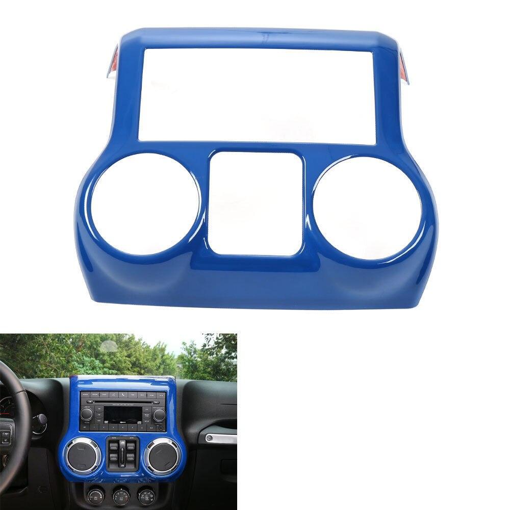 1 pc bleu voiture intérieur Center panneau de commande couvercle garniture ABS cadre décoration convient pour Jeep Wrangler 2011-2016 voiture style