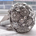 Gray Ivory Wedding Bouquets Luxurious Crystal Silk Wedding Flowers Bridal Bouquets Ramos De Novia 2017 Wedding Accessories