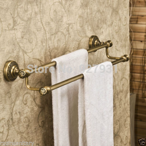 Free Shipping Wholesale and Retail Double Rod Bathroom Towel Bar Wall Mounted Bath Towel Rack Antique
