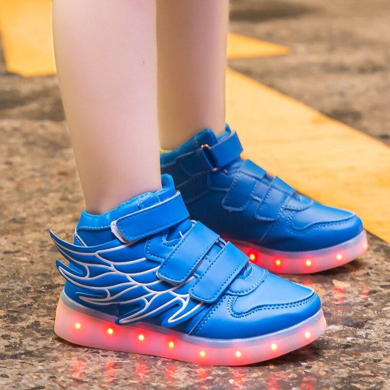 d72ecdadd UncleJerry/детская обувь с подсветкой и крыльями светодио дный для мальчиков  и девочек, светящиеся кроссовки с usb зарядкой, модная обувь для мальчиков  ...