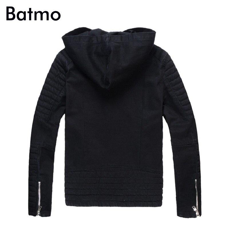 Batmo 2018 Новое поступление осенние высококачественные черные повседневные джинсовые куртки с капюшоном для мужчин, мужские модные куртки бол... - 2