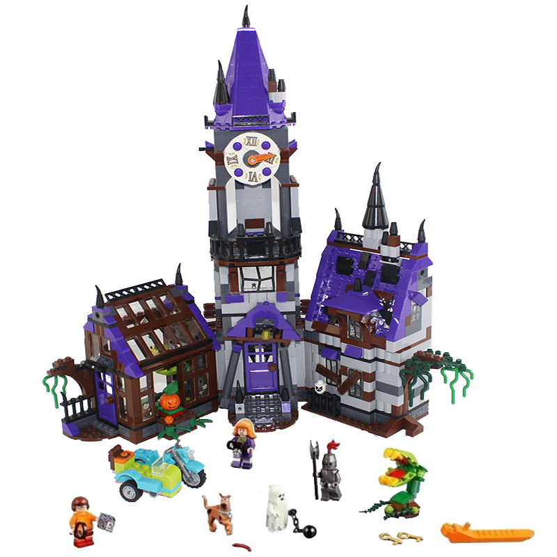 10432 Scooby Doo Mysterious Ghost House 860pcs Building Block Toys Compatible Legoe 75904 Blocks For Children gift 10432 scooby doo mysterious ghost house mode building blocks educational toys 75904 for children christmas gift legoingse toys