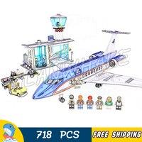 718PCS City Airport Terminal Passenger Airplane Model Building Blocks 02043 Assemble Toys Compatible With LegoING