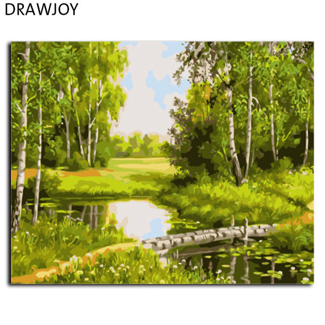 DRAWJOY Landscape Framed Pictures Painting By Numbers DIY Canvas Oil ...