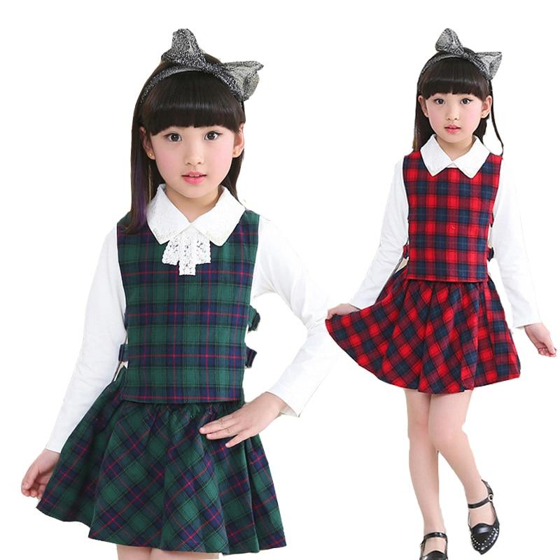 Girls Clothing Sets Turn-down Collar White Blouses & Waistcoats & Skirts 3Pcs Spring Autumn Plaid Outfits Girls School Uniforms girls clothing down