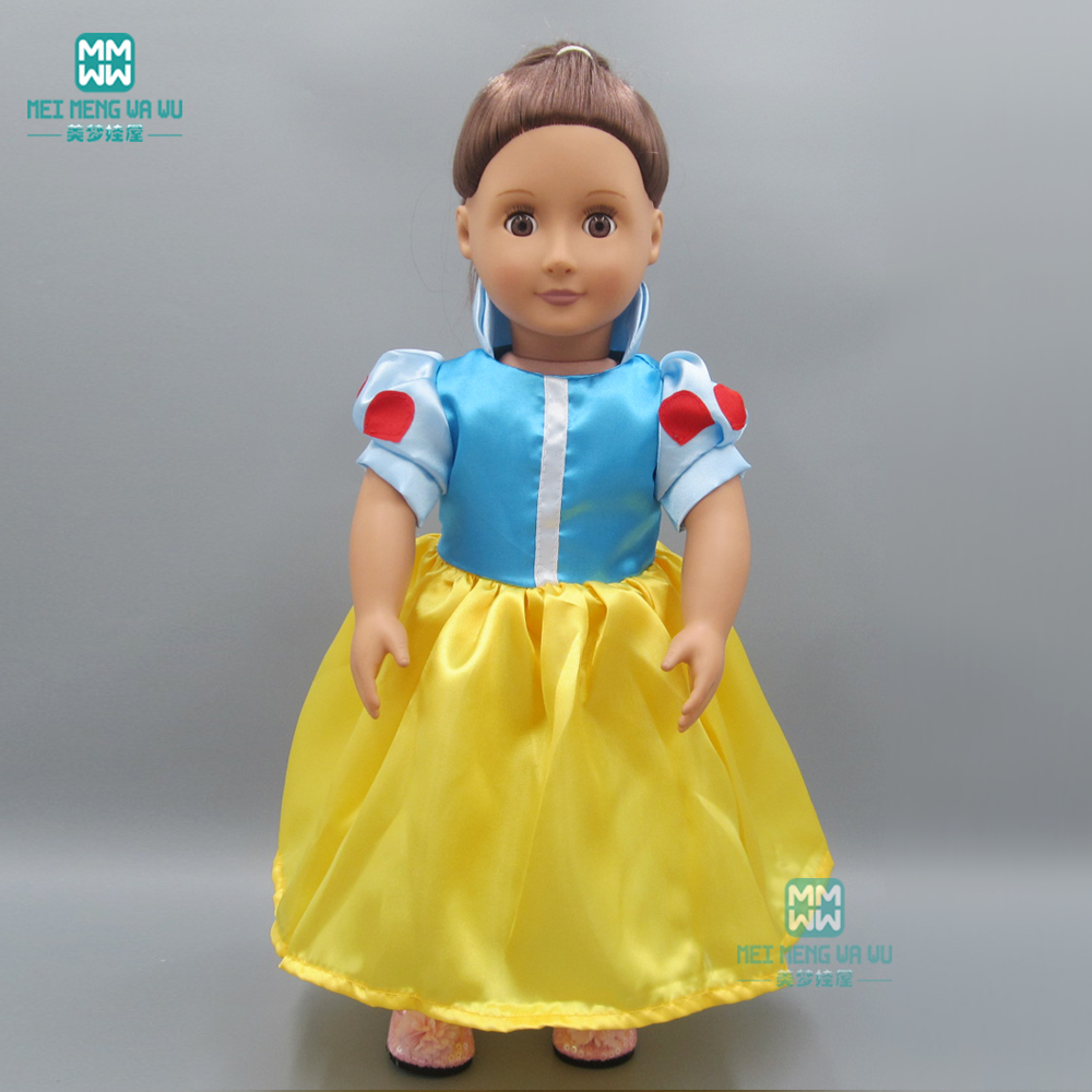 Doll Clothes For 45cm American Doll And New Born Doll Accessories Fashion Yellow Princess Baby Dress