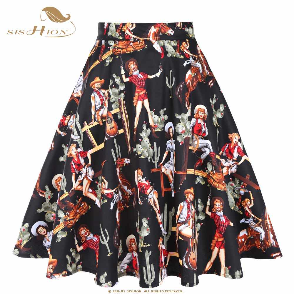 f790d6fb864 SISHION Sexy Elegant Black Skirts 2019 New Arrival Western Girls Print  Beach Swing Vintage 50s Retro