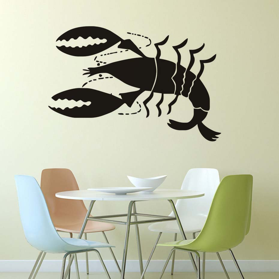 Kitchen Funny Wall Decal A Large Size Red Lobster Vinyl Adhesive Wall Sticker Dining Room,Kitchen Wall Art Mural Home Decor