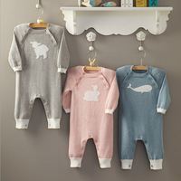 Newborn Baby Boys Girls Clothes Warm Thick Whale Rabbit Print Knit Sweater Romper Infant Boys Jumpsuit