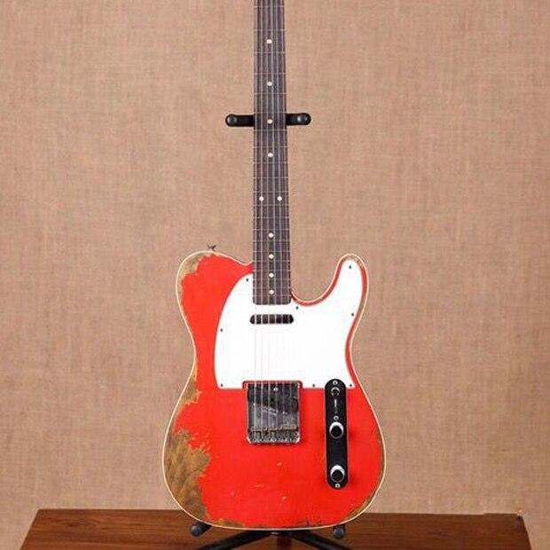 handmade 6 stings telecast gitaar,Tele electric Guitar relics by hands. red color master build relic TL guitarra