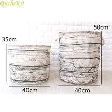 Wood Grain Laundry Basket Large Storage Basket Cotton Linen Sundries Bag Ocean Wave Storage Organizer Box Storage Bag For Toys