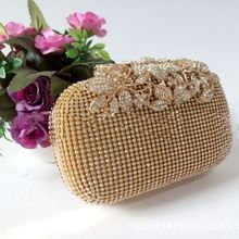 Unique Gold Rhinestone Evening bag Clutch Purse Party Bridal Prom