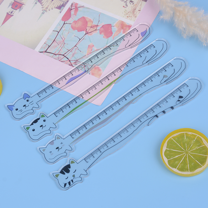 Cat Stationery Ruler Acrylic Ruler Cute Kawaii Animal Drawing Straight Ruler For School Student Stationery