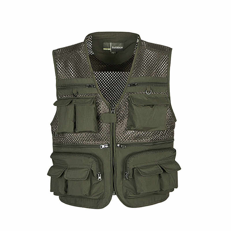 Outdoor Fishing Vests Quick Dry Breathable Multi Pocket Mesh Jackets Photography Hiking Vest Army green fish Vest