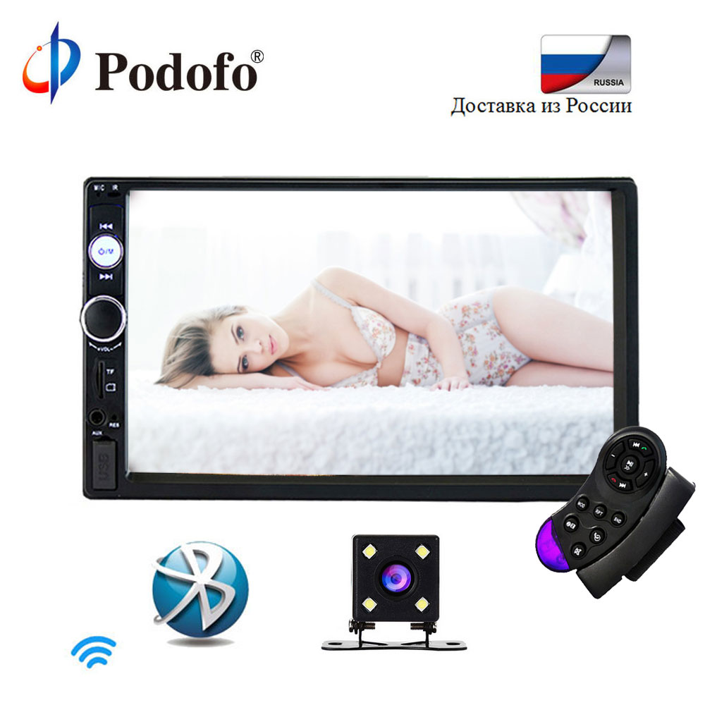 Podofo 7 Touch Autoradio 2 Din In Dash Car Radio Digital Player MP5 Bluetooth USB SD Rear View Camera Steering Wheel Control podofo 7 inch touch screen 2 din car radio 2din in dash auto audio player stereo bluetooth usb sd mp5 rear view camera autoradio