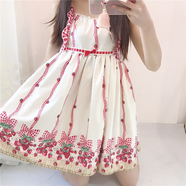 Strawberry Princess Baby Doll Dress Style Spaghetti Strap Sun High Waist Mini Robe Femme