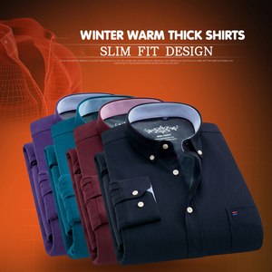 Image 2 - New Winter Warm Shirt Men Casual Shirts Slim Fit Thick Oxford Dress Shirts Solid Color Fashion Camisa masculina Chemise homme