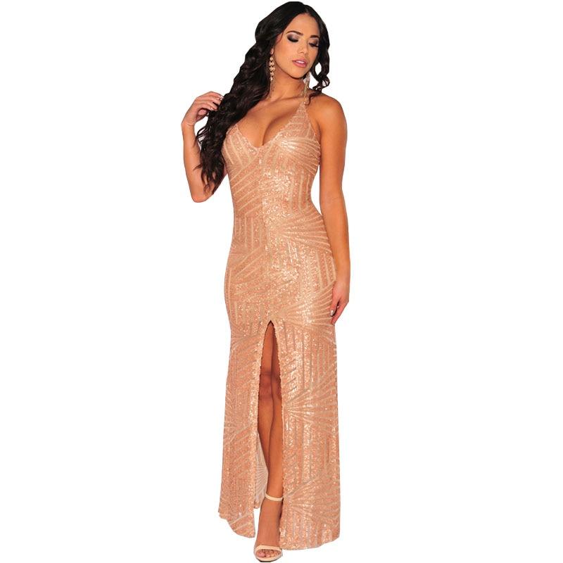 Bling Sequined Women Maxi Long Dress Spaghetti Strap Deep V Neck