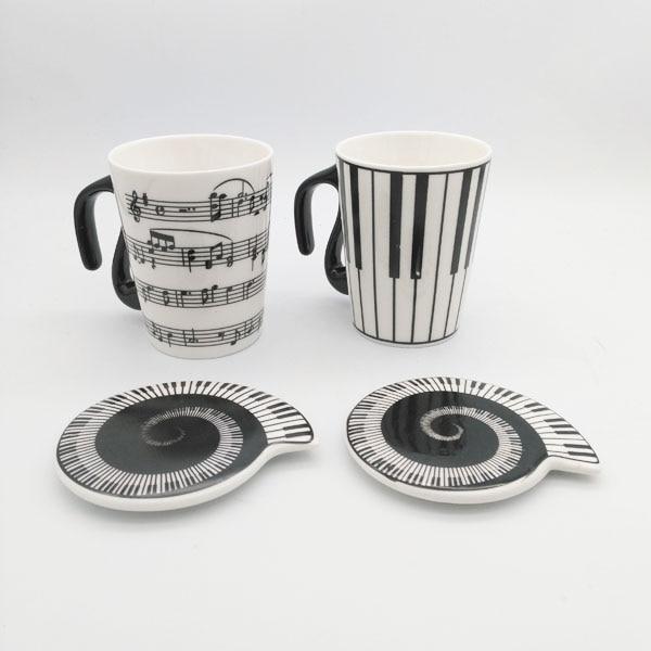 Music Cup Mug Staff Notes Piano Keyboard Ceramic Cup Porcelain Mug Coffee Caneca with Cover Creative