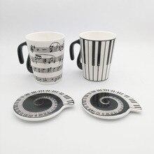 Musik Tasse Becher Mitarbeiter Noten Klavier Tastatur Keramik-tasse Porzellan Becher Kaffee Caneca mit Kreativen geschenk
