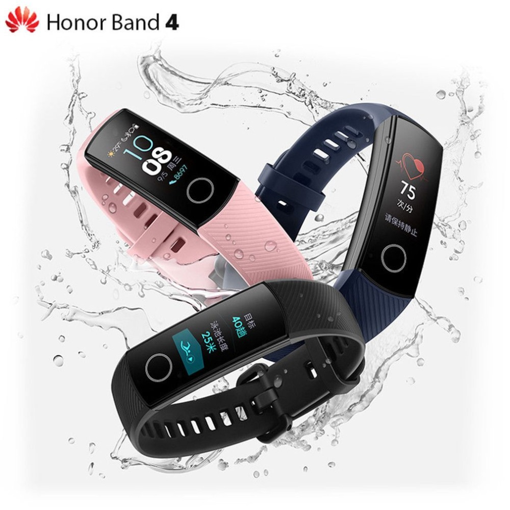 Original Huawei Honor Band 4 Smart Wristband Amoled Color 0 95 quot Touchscreen Fitness Tracker Smart Band Swim Posture Heart Rate in Smart Wristbands from Consumer Electronics
