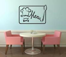 Vinyl Plane Wall Stickers Home Decoration Mural Wallpapers Wall Pictures  Chef Menu Bistro Dining Kitchen Art Wall Decor